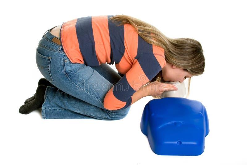 Addestramento di CPR della ragazza fotografia stock libera da diritti