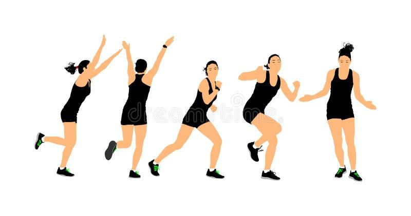 Addestramento di istruttore di forma fisica Metta in mostra la donna di addestramento, la palestra ed il concetto di stile di vit illustrazione vettoriale