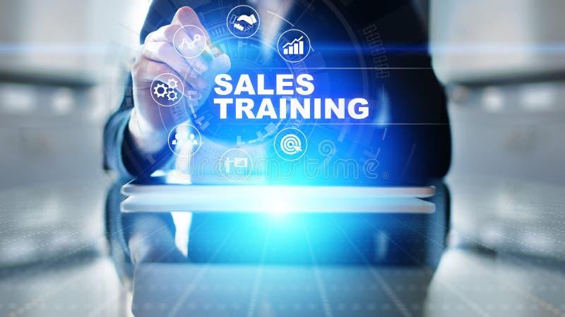 Addestramento di vendite, sviluppo di affari e concetto finanziario di crescita sullo schermo virtuale fotografia stock libera da diritti