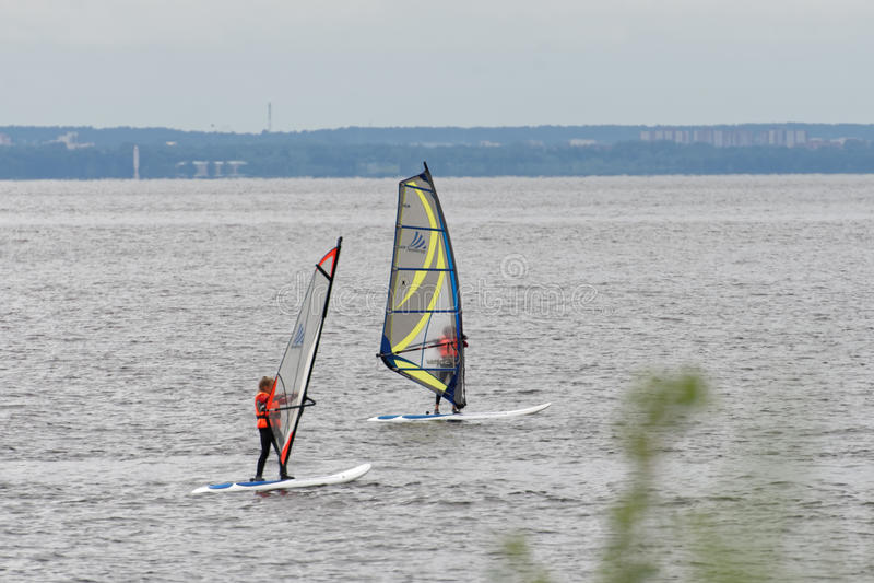 Addestramento di windsurf fotografia stock