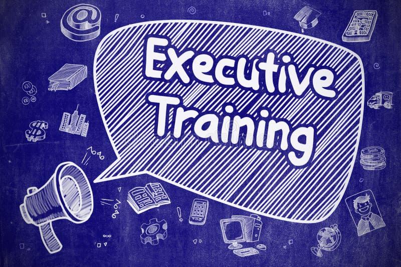 Addestramento esecutivo - illustrazione di scarabocchio sulla lavagna blu illustrazione di stock