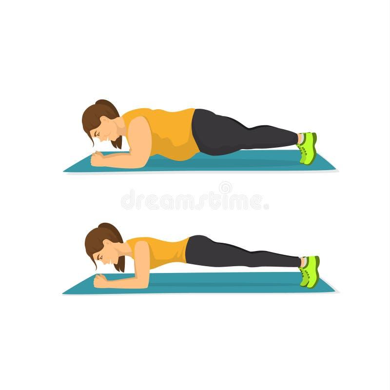 Addestramento grasso della donna nella posizione della plancia, riuscito concetto di perdita di peso, prima e dopo royalty illustrazione gratis