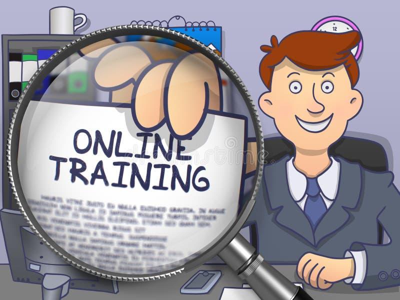 Addestramento online tramite la lente Progettazione di scarabocchio royalty illustrazione gratis