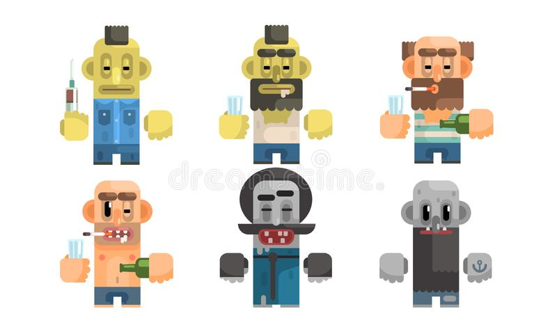 Addict Men Set, Male Characters Having Pernicious Habits, Drug, Alcoholism, Smoking, Vagrancy Vector Illustration. On White Background stock illustration