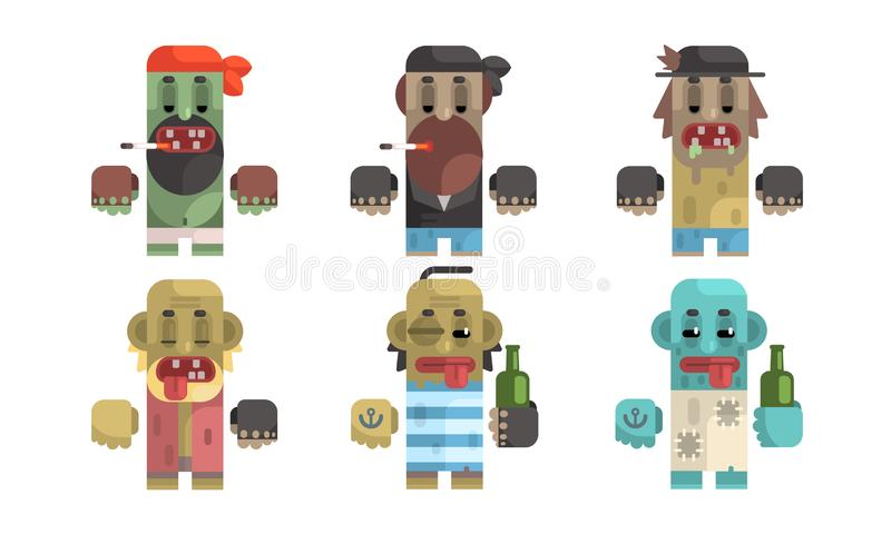 Addict Men Set, Male Characters Having Pernicious Habits, Drug, Alcoholism, Smoking Vector Illustration. On White Background royalty free illustration