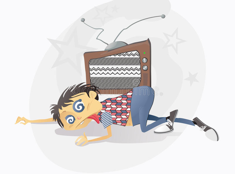 Addicted to TV vector illustration