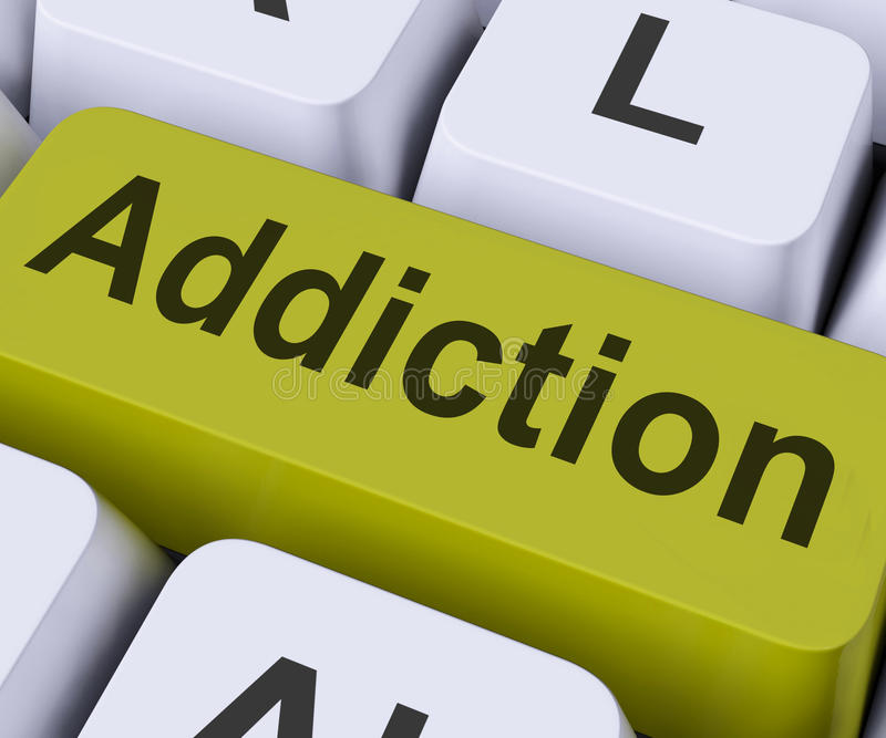 Addiction Key Means Obsession. Addiction Key On Keyboard Meaning Vulnerability Or Obsession royalty free stock photos