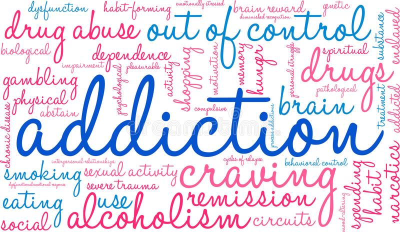 Addiction Word Cloud. On a white background stock illustration