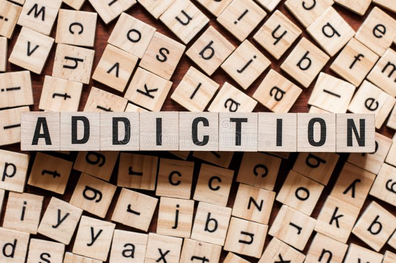 Addiction word concept royalty free stock photography