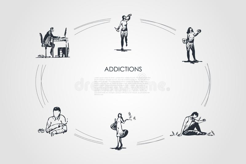 Addictions - smoking, alcoholism, drug addiction, fast food, coffee and spending money addicting vector concept set. Hand drawn sketch isolated illustration vector illustration
