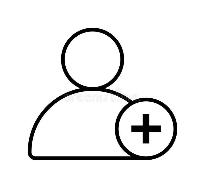 Addieren Sie Benutzerlinie Ikone lizenzfreie abbildung