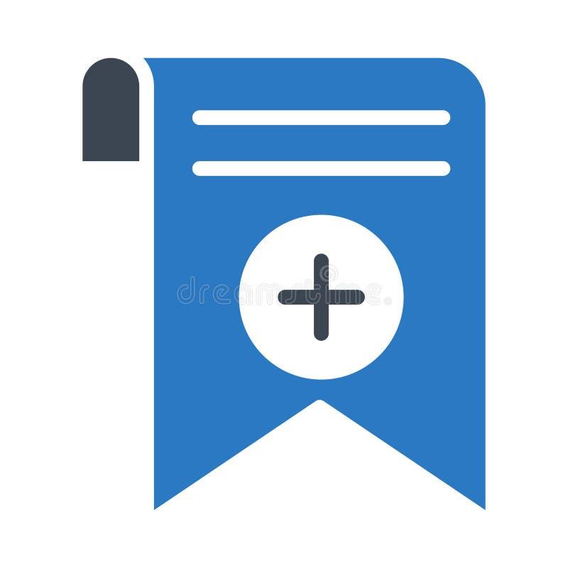 Addieren Sie Bookmarkumbau Glyphfarbvektorikone vektor abbildung