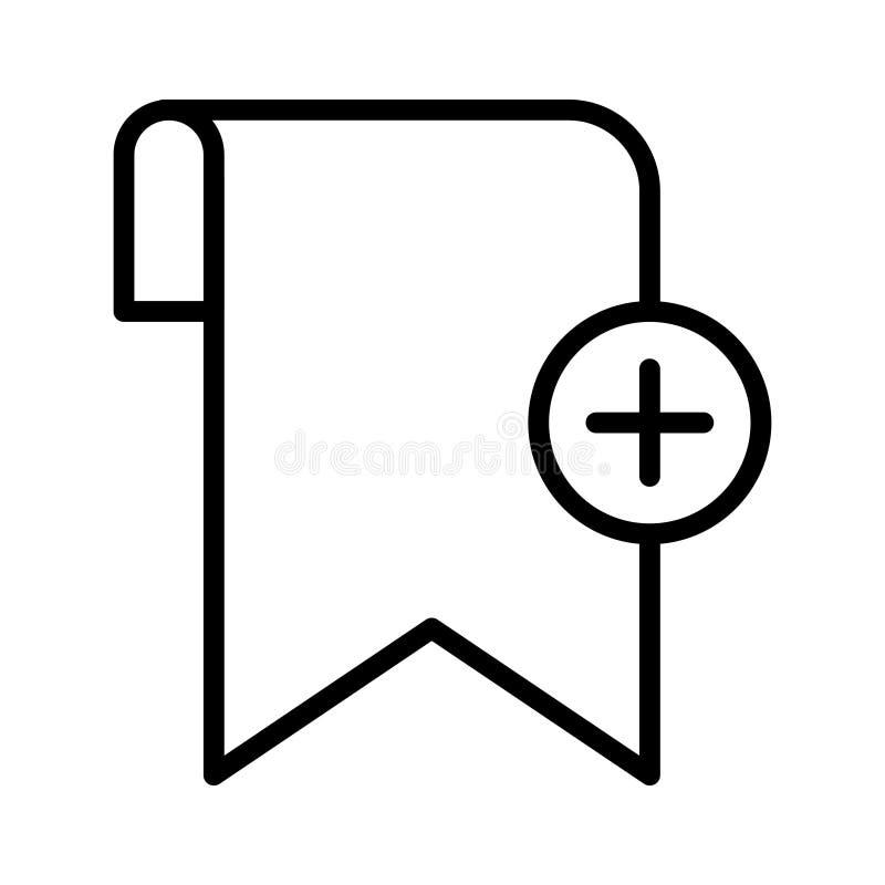 Addieren Sie d?nne Linie Vektorikone des Bookmarkumbaus vektor abbildung