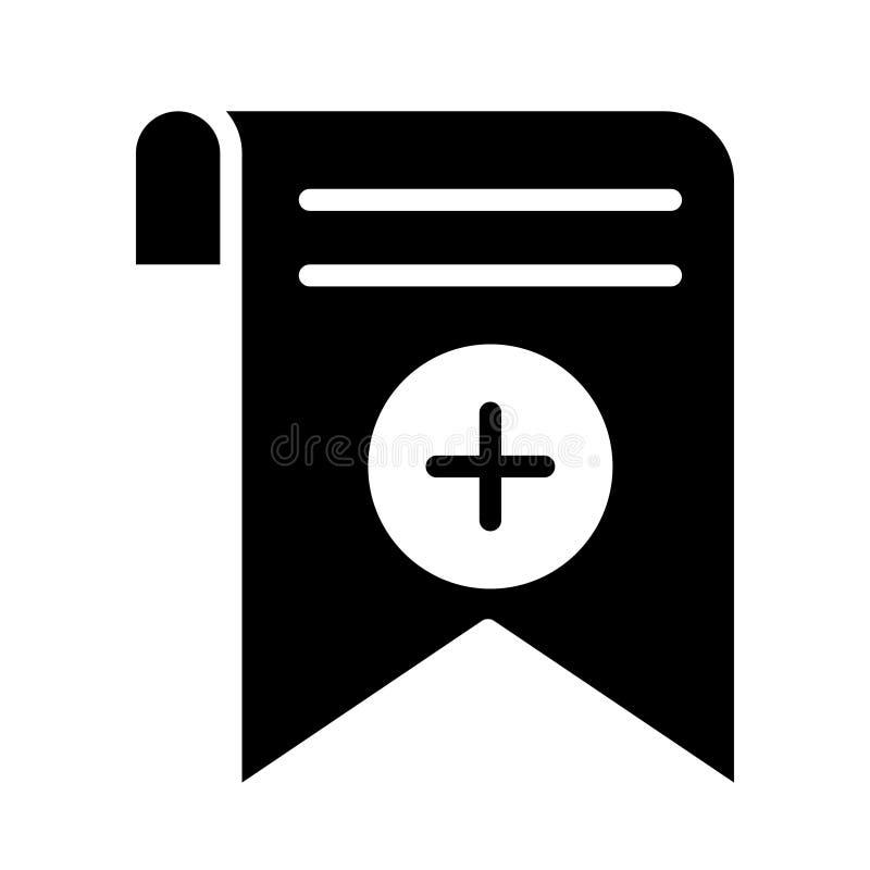Addieren Sie flache Vektorikone Bookmarkumbau Glyph vektor abbildung