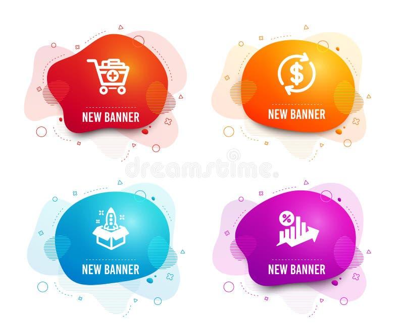 Addieren Sie Produkte, Dollarwechsel und Startikonen Darlehensprozentzeichen Einkaufswagen, Diskonts?tze, Innovation Vektor stock abbildung