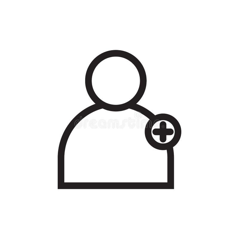 Addieren Sie schwarze Linie Ikone des Benutzers stock abbildung