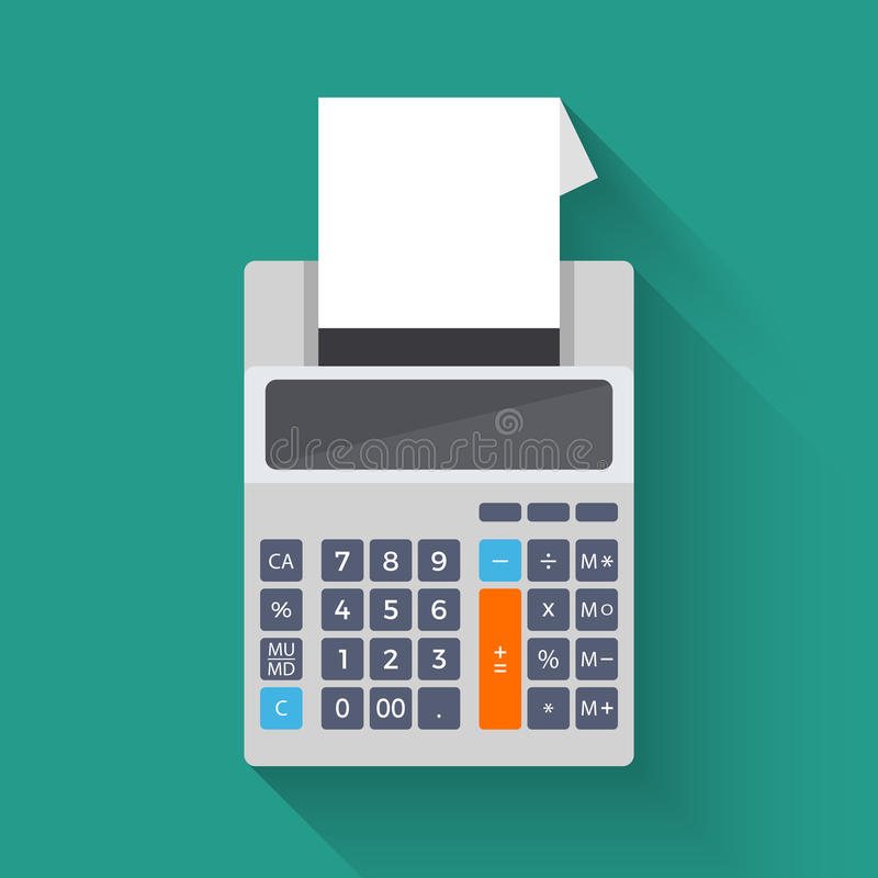 Adding counting machine, vector flat illustration of calculator vector illustration