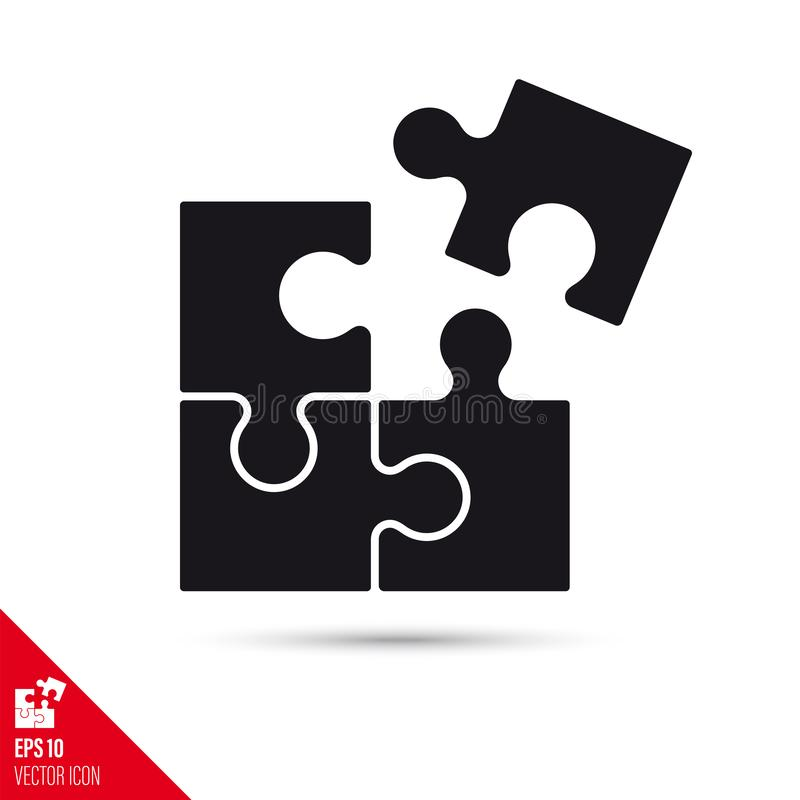 Adding the last jigsaw puzzle piece glyph icon. Success concept royalty free illustration