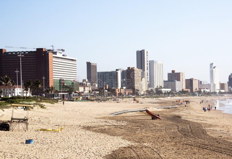Addington beach against city skyline in Durban, South Africa stock photos
