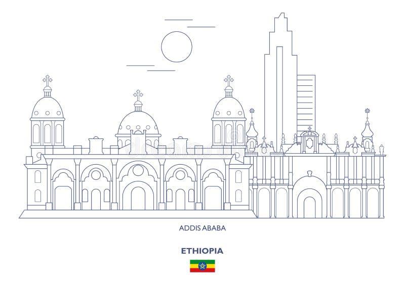 Addis Ababa City Skyline, Äthiopien lizenzfreie abbildung