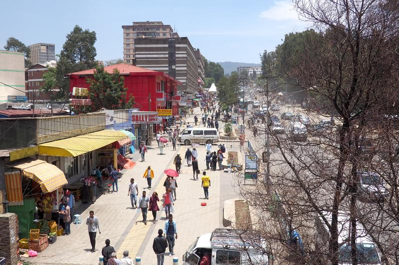 Addis Ababa, Ethiopia - 9 April 2019 : Busy street in the Ethiopian capital city of Addis Ababa. Addis Ababa, Ethiopia - 9 April 2019 : A busy street in the royalty free stock images