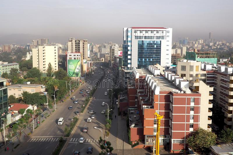 Addis Ababa, Ethiopia - 11 April 2019 : Busy street in the Ethiopian capital city of Addis Ababa. Addis Ababa, Ethiopia - 11 April 2019 : A busy street in the royalty free stock photos