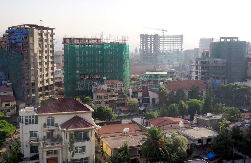 Addis Ababa, Ethiopia - 11 April 2019 : Busy street in the Ethiopian capital city of Addis Ababa. Addis Ababa, Ethiopia - 11 April 2019 stock photos