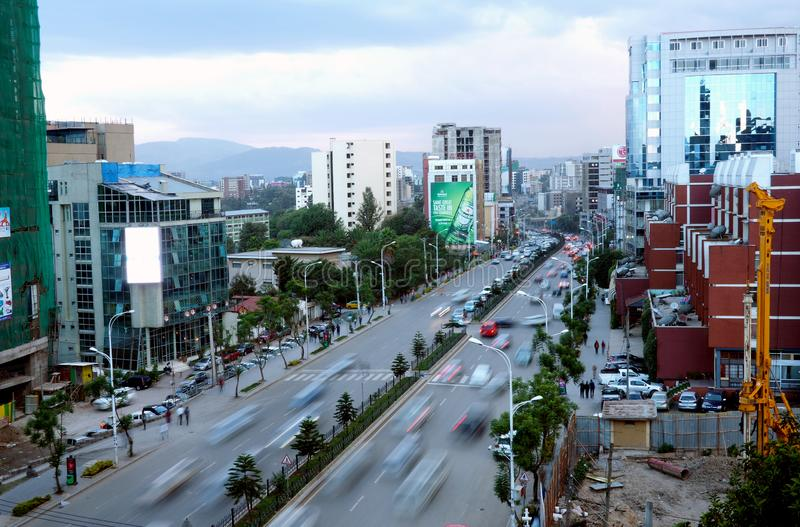 Addis Ababa, Ethiopia - 11 April 2019 : Busy street in the Ethiopian capital city of Addis Ababa. Addis Ababa, Ethiopia - 11 April 2019 : A busy street in the royalty free stock photo