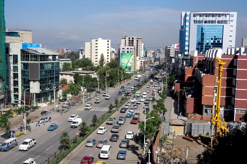 Addis Ababa, Ethiopia - 11 April 2019 : Busy street in the Ethiopian capital city of Addis Ababa. Addis Ababa, Ethiopia - 17 April 2019 : A busy street in the stock images