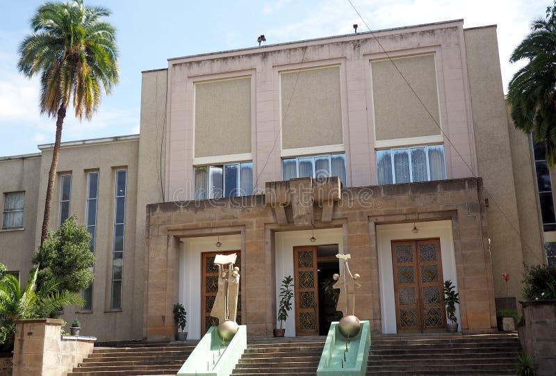 Addis Ababa, Ethiopia - 22 April 2019 : Exterior of the Ethiopian Parliament building ,Addis Ababa. Addis Ababa, Ethiopia - 22 April 2019 : Exterior of the stock photography