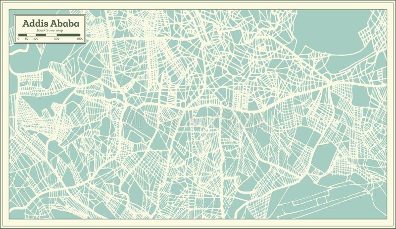Addis Ababa Ethiopia City Map no estilo retro Ilustração preto e branco do vetor ilustração stock