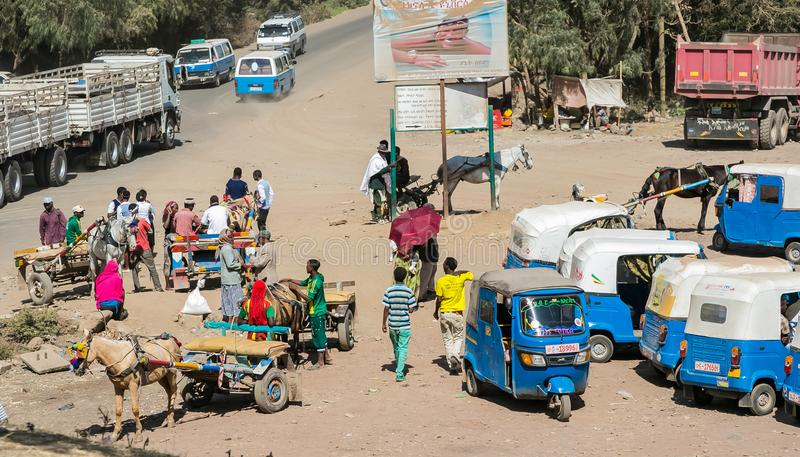 Addis Ababa, Ethiopia, January 30, 2014, Donkey-carts and taxis stock photography