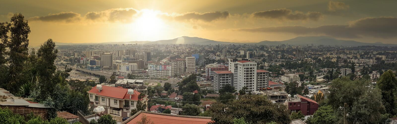 Panorama of the Capital City of Ethiopia, Addis Ababa stock photography