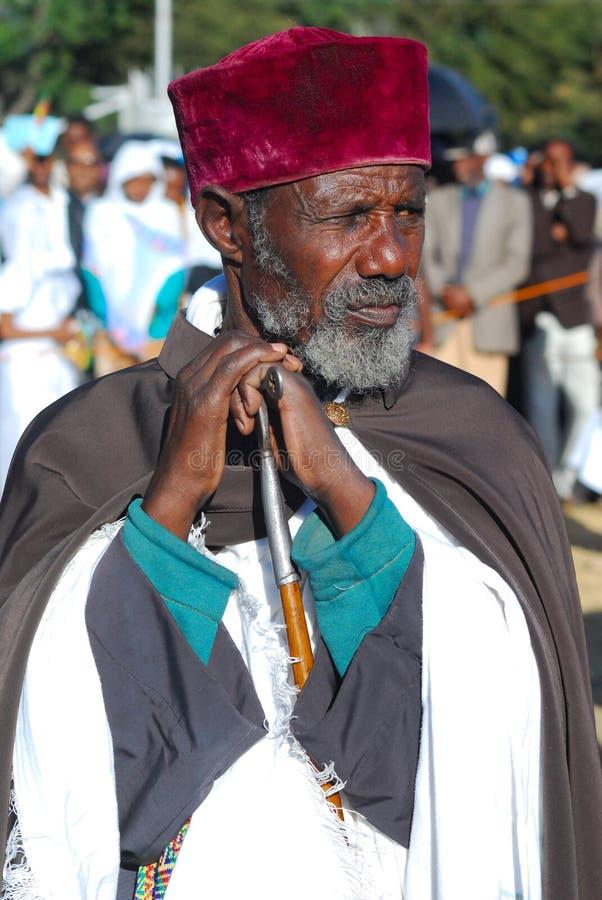 Addis Ababa, Ethiopia: Ethiopian Orthodox Priest. Addis Ababa, Ethiopia, 19th January 2008: Portrait of Ethiopian Orthodox Priest attending Epiphany celebrations stock photography