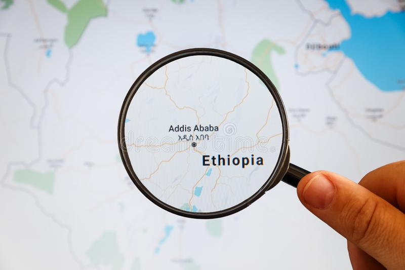 Addis Ababa, Etiop?a correspondencia pol?tica imagen de archivo libre de regalías