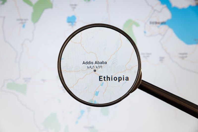 Addis Ababa Etiopien e-?versikt politisk u fotografering för bildbyråer