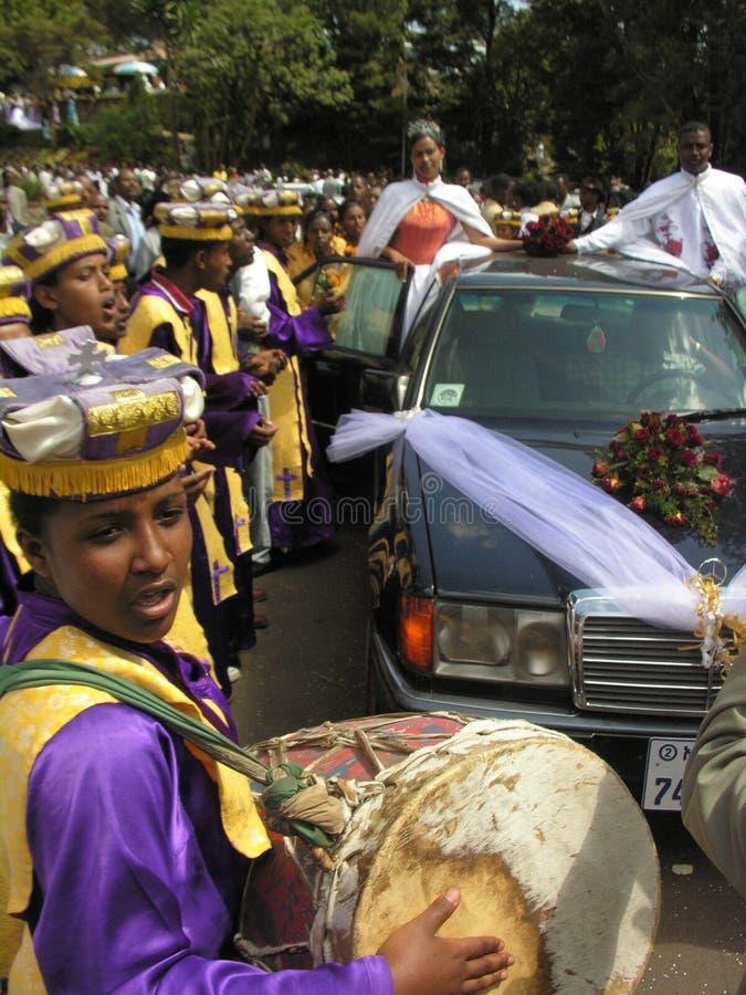 Addis Ababa Etiopien, Janury 14th 2007: Bröllopberöm royaltyfria foton