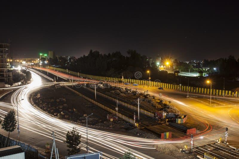 Addis Ababa på natten royaltyfria foton