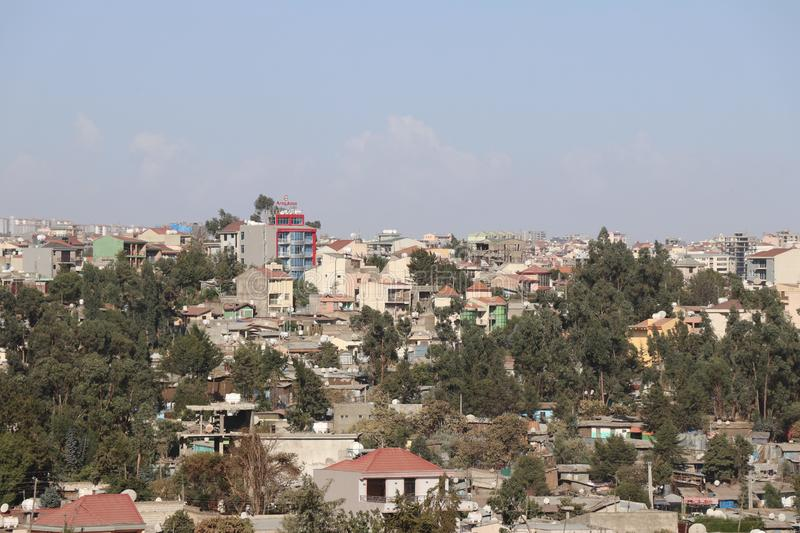 Addis Ababa`s high-density housing. View of housing in Addis Ababa, Ethiopia, with a higher population density - blocks of flats, and tower blocks royalty free stock photos