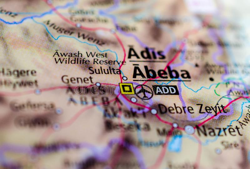 Addis Ababa sur la carte images stock