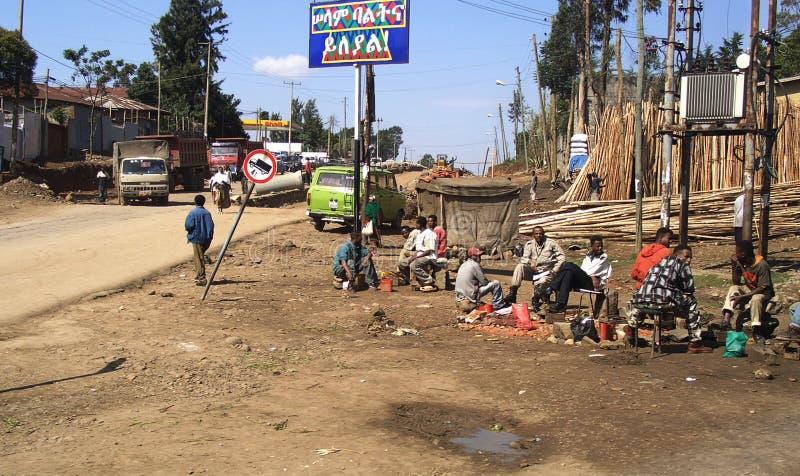 Addis Abeba, Ethiopia. Men sitting in a street of Addis Abeba, Ethiopia stock images