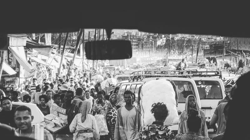 Addis Mercato, el mercado africano más grande de Etiopía, diciembre de 2017 imagen de archivo