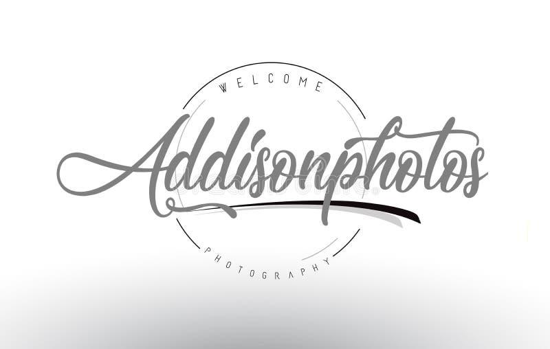 Addison Personal Photography Logo Design com fotógrafo Name ilustração do vetor