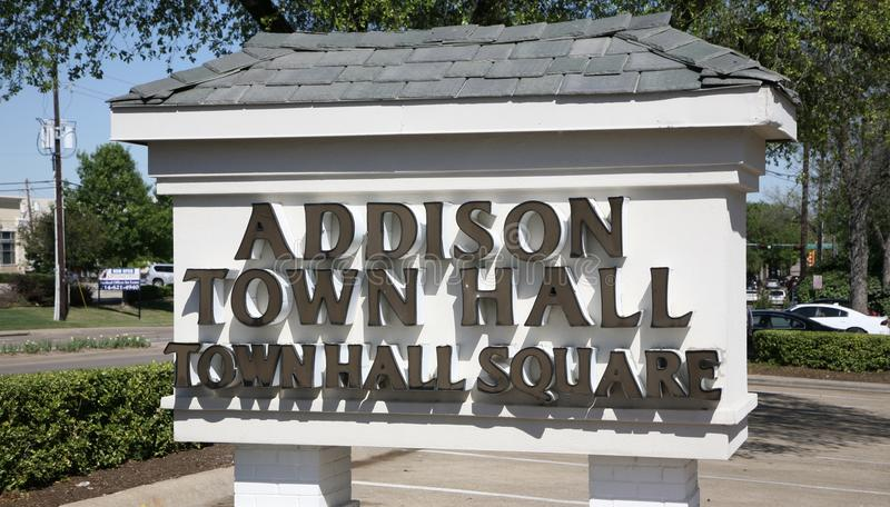 Addison Texas Town Hall & Square. Addison is an incorporated town in Dallas County, Texas, in the United States. Addison is situated to the immediate north of stock photos