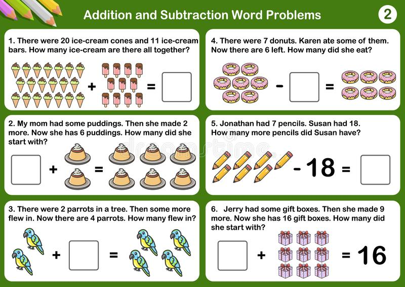 Addition and Subtraction word problems. Worksheet for exam and testing royalty free illustration