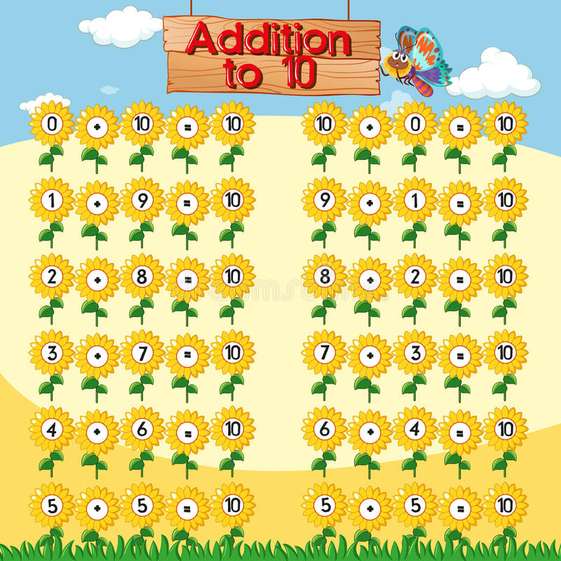 Addition to ten chart with sunflowers background. Illustration vector illustration