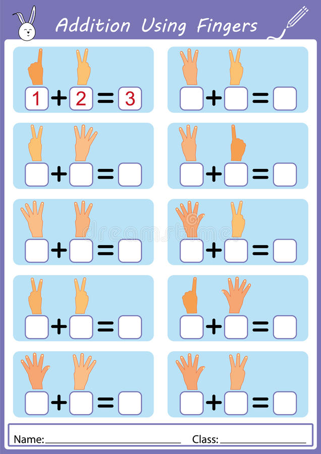 Addition Using Fingers, Math Worksheet Stock Illustration ...