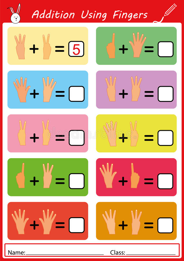 Addition Using Fingers, Math Worksheet For Kids Stock Illustration ...