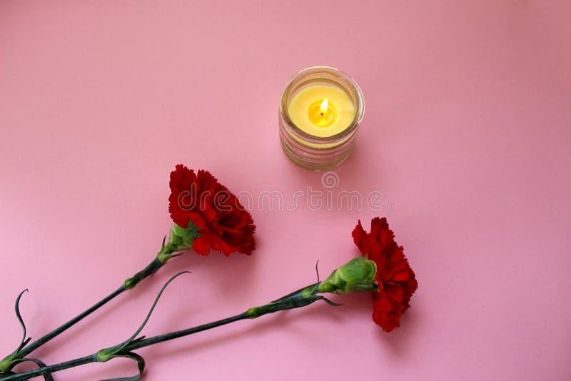 Addolorandosi due garofani rossi con una candela immagini stock libere da diritti