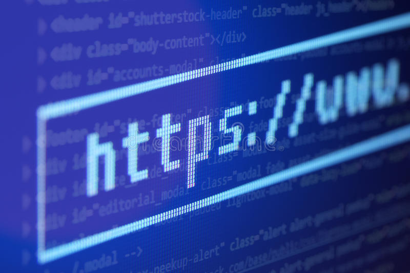 Address bar on the background of program code on the computer royalty free stock photography